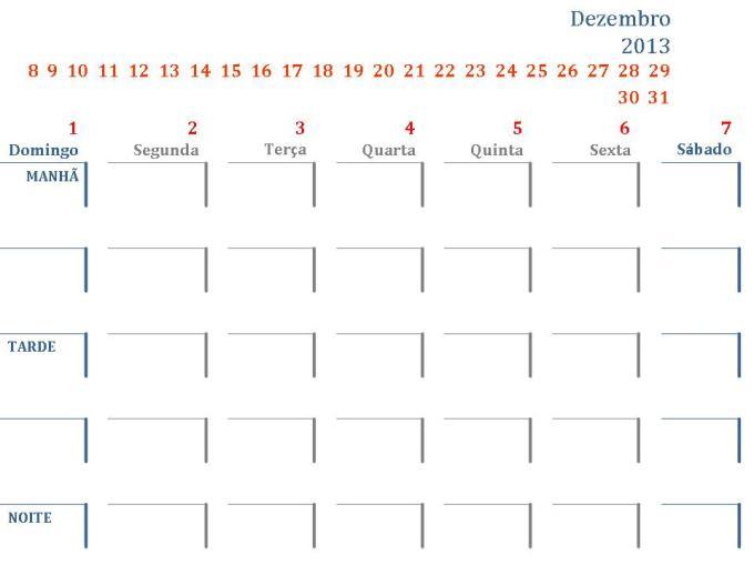 Modelo de calendario semanal